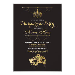 Costume party invitations announcements zazzle masquerade party birthday gold mask invite filmwisefo Image collections