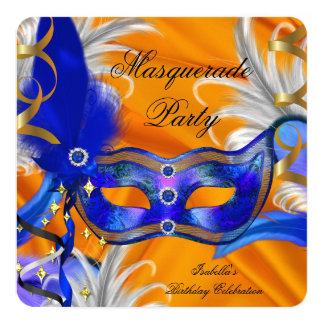 Masquerade Party Birthday Party Blue Orange Card