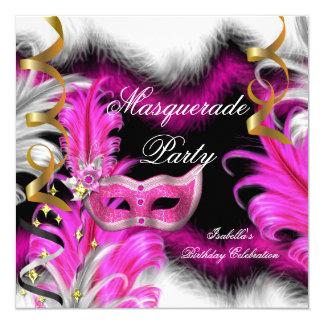 Masquerade Party Birthday Pink Black White Invitation