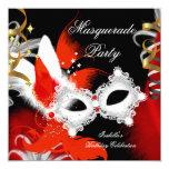 Masquerade Party Birthday Red Mask Black White 2 5.25x5.25 Square Paper Invitation Card