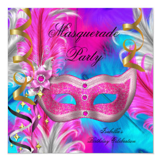 Masquerade Party Birthday Teal Purple Pink 5.25x5.25 Square Paper Invitation Card