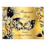 Masquerade Party Birthday Wild Mask Black Gold 2 Card