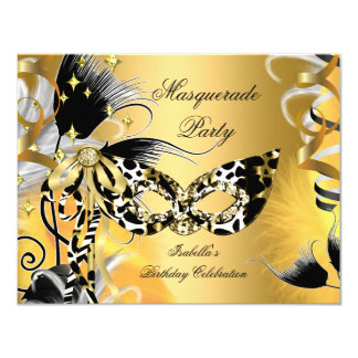 Masquerade Party Birthday Wild Mask Black Gold 2 4.25x5.5 Paper Invitation Card