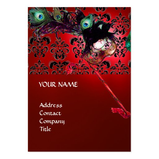 MASQUERADE PARTY black and white damask Large Business Cards (Pack Of 100)