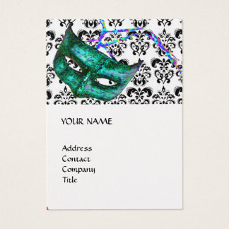 MASQUERADE PARTY black and white damask pearl Business Card