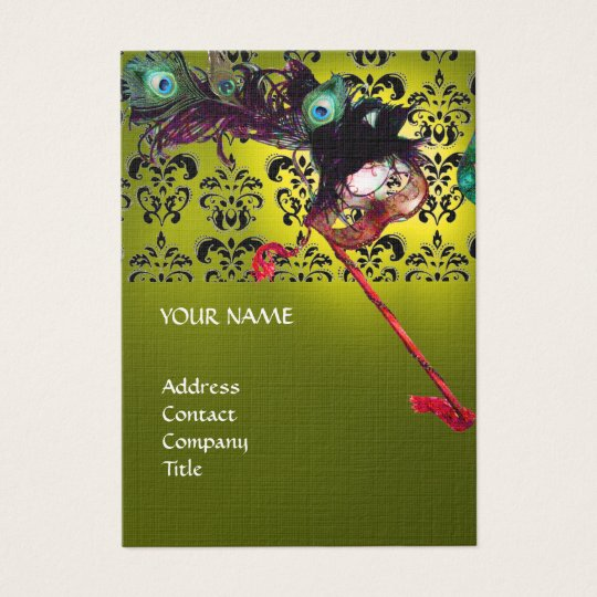 MASQUERADE PARTY black white damask linen yellow Business Card