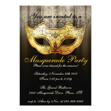 Beach Themed Masquerade Party Celebration Fancy Gold Invitation