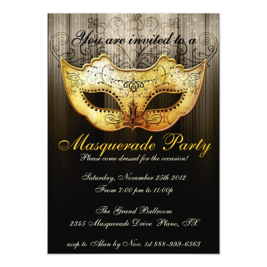 Masquerade Party Celebration Fancy Gold Invitation | Zazzle.com