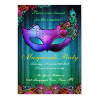Masquerade Party Celebration Peacock Invitation