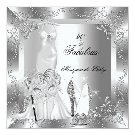 Masquerade Party Fabulous 50 Birthday Silver 2 Card