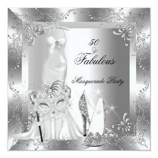 Masquerade Party Fabulous 50 Birthday Silver 2 5.25x5.25 Square Paper Invitation Card