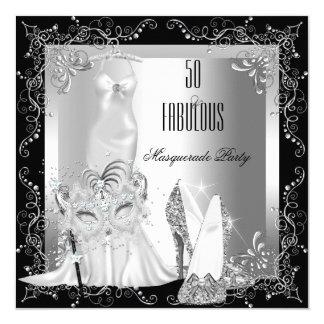 Masquerade Party Fabulous 50 Birthday Silver 5.25x5.25 Square Paper Invitation Card