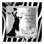 "Masquerade Party Fabulous 50 Zebra Silver 5.25"" Square Invitation Card"