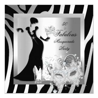 Masquerade Party Fabulous 50 Zebra Silver 5.25x5.25 Square Paper Invitation Card