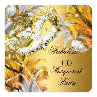 Masquerade Party Fabulous Birthday Gold Silver Card