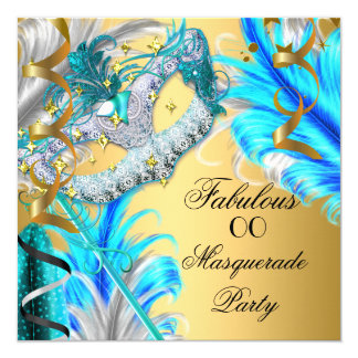 Masquerade Party Fabulous Birthday Teal Blue 2 Card