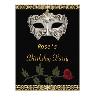 Masquerade Party Gold Black Hot Glamour Birthday Invitations