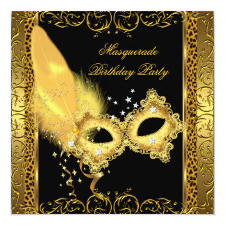 Masquerade Party Gold Black Leopard Mask Card