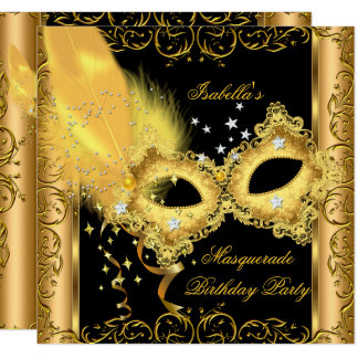 Masquerade Party Gold Black Yellow Mask 2 Card