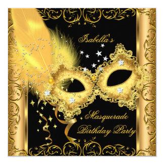 Masquerade Party Gold Black Yellow Mask 2 Invitation