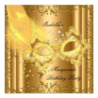 Masquerade Party Gold Bronze Yellow Mask 5.25x5.25 Square Paper Invitation Card