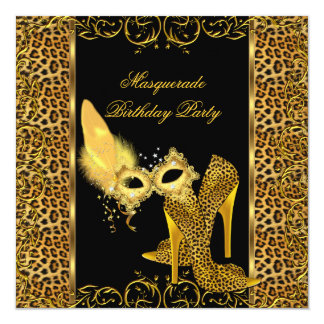 Masquerade Party Gold Leopard Mask High Heel Shoe Card