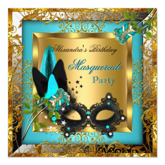 Masquerade Party Gold Teal Black Mask Rose Card
