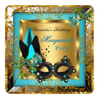 Masquerade Party Gold Teal Black Mask Rose R2 Invitation