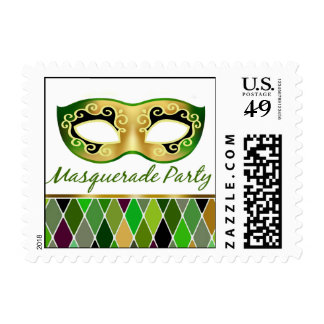 Masquerade Party Harlequin   green Postage
