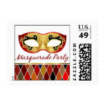 Masquerade Party Harlequin | red Postage Stamp