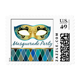 Masquerade Party Harlequin | teal Postage