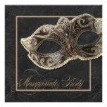 Masquerade Party Invitation - Bronze, gold & black