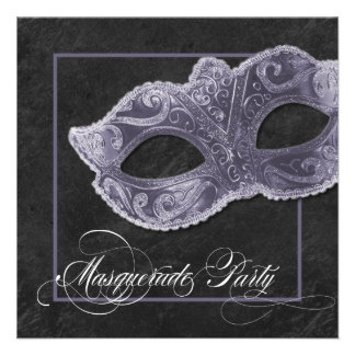 Masquerade Party Invitation - Slate Grey