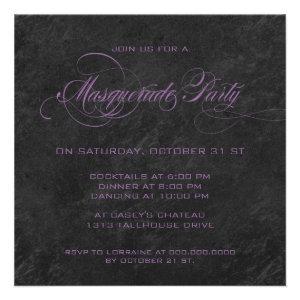 Masquerade Party Invitation - Violet & black