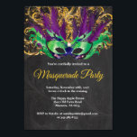 """Masquerade Party Magical Night Green Purple Gold Invitation<br><div class=""""desc"""">Masquerade Party Magical Night Green Purple Gold Invitation. Mask Birthday Party. Mardi Gras. Green,  Purple and Gold Glitter Feather Peacock. Sweet 16 Sixteen. Chalkboard Background. Any Ages. For further customization,  please click the """"Customize it"""" button and use our design tool to modify this template</div>"""