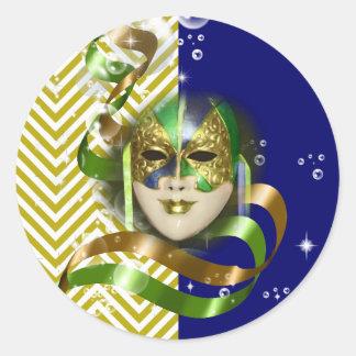 Masquerade party mardi gras mask classic round sticker