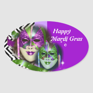 Masquerade party mardi gras mask oval stickers