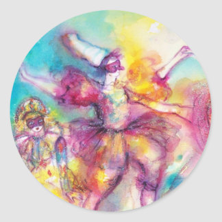 MASQUERADE PARTY,Mardi Gras Masks,Dance,Music Classic Round Sticker