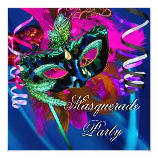 Masquerade Party Mask Black Blue Pink Mardi Gras Card