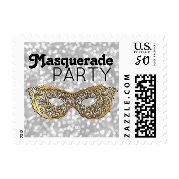 Halloween Themed Masquerade Party Mask Elegant Gold Silver Bokeh Postage