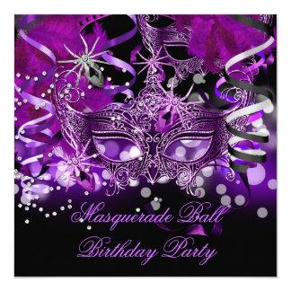 Masquerade Party Mask Spider Purple Gothic 5.25x5.25 Square Paper Invitation Card