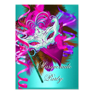 Masquerade Party Mask Teal Pink Metallic 6.5x8.75 Paper Invitation Card