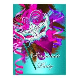 Masquerade Party Mask Teal Pink Metallic Card