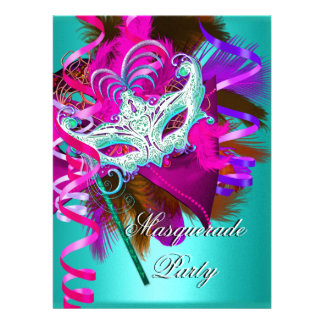Masquerade Party Mask Teal Pink Metallic Custom Invitations