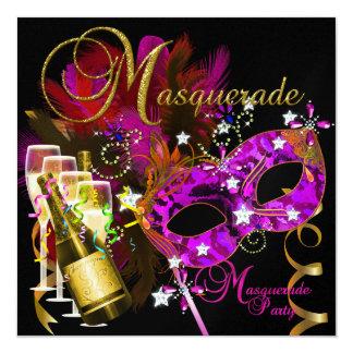 "Masquerade Party Masks Black Gold Pink 5.25"" Square Invitation Card"