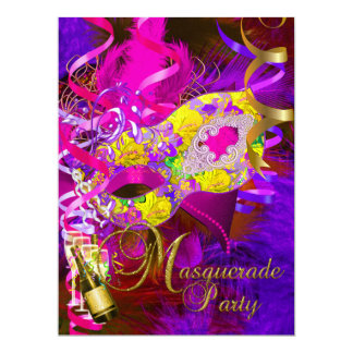 Masquerade Party Masks Champagne Yellow Card