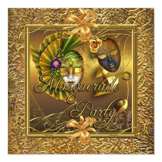Masquerade Party Masks Gold Black Birthday Card