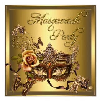 "Masquerade Party Masks Gold Black Birthday 5.25"" Square Invitation Card"