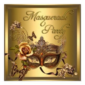 Masquerade Party Masks Gold Black Birthday 5.25x5.25 Square Paper Invitation Card