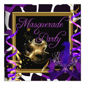 Masquerade Party Masks Wild Gold Purple Card